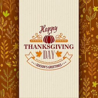 Thanksgiving day wenskaart op naadloos patroon