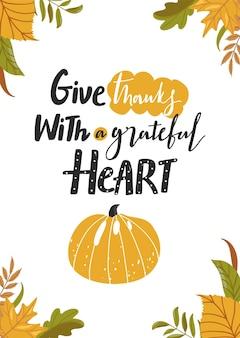 Thanksgiving day wenskaart typografie slogan ontwerp dank met een dankbaar hart teken