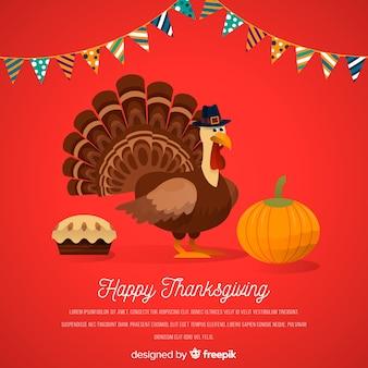 Thanksgiving dayachtergrond in vlak ontwerp met turkije