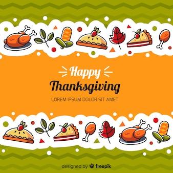Thanksgiving dayachtergrond in vlak ontwerp