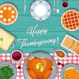 Thanksgiving dayachtergrond met traditioneel vakantiediner op houten lijst