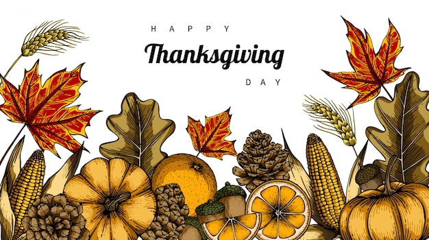 Thanksgiving dayachtergronden en groetkaart met bloem en bladtekeningsillustratie.
