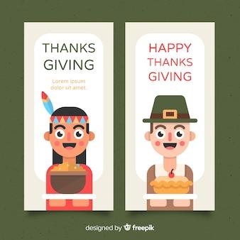 Thanksgiving daybanner die met leuke karakters wordt geplaatst