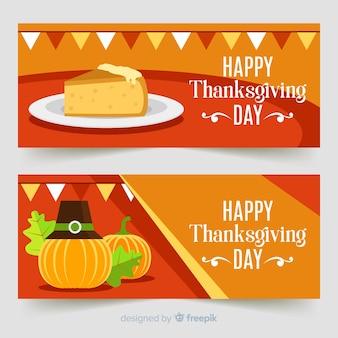 Thanksgiving daybanner die met pompoenen en pastei wordt geplaatst