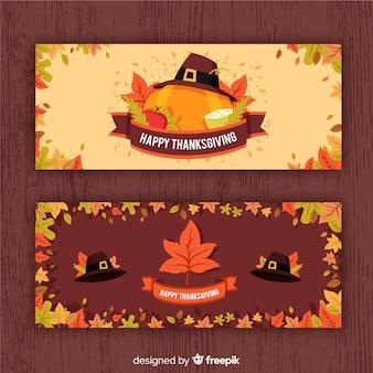 Thanksgiving daybanner die met pompoenen wordt geplaatst