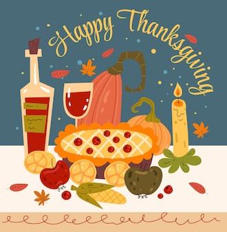 Thanksgiving-diner met platte grafische ontwerpillustratie van pompoentaart