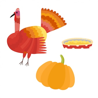 Thanksgiving-elementen ingesteld