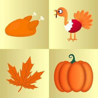 Thanksgiving-elementen zoals als kip, kalkoenvogel, esdoornblad en pompoen op gele achtergrond.
