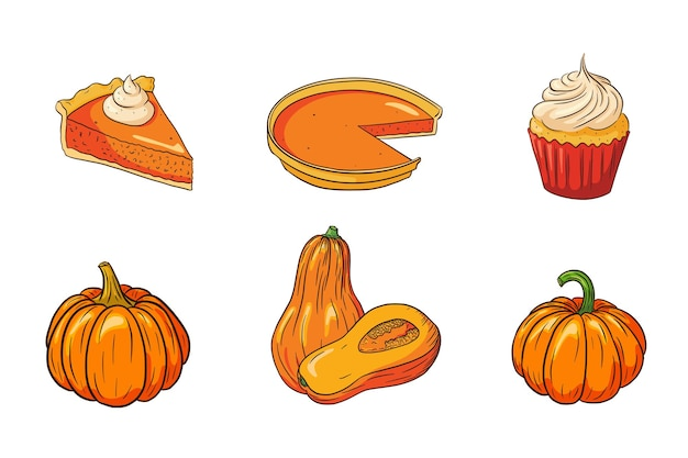 Thanksgiving eten collectie. herfstvakantie pompoen gerechten set. verse rijpe pompoenen en pompoentaarten illustratie voor stickers, uitnodiging, menu en wenskaarten decoratie. premium vector