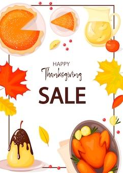 Thanksgiving flyer geïsoleerd op een witte achtergrond vector illustratie voor poster