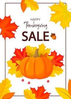 Thanksgiving flyer geïsoleerd op een witte achtergrond vector illustratie