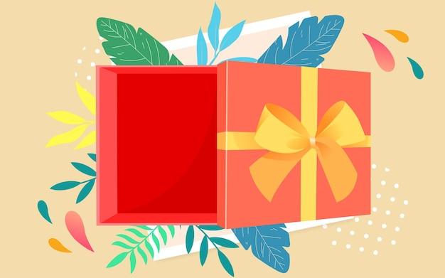 Thanksgiving geschenkdoos bovenaanzicht illustratie vieren valentijnsdag geschenk poster