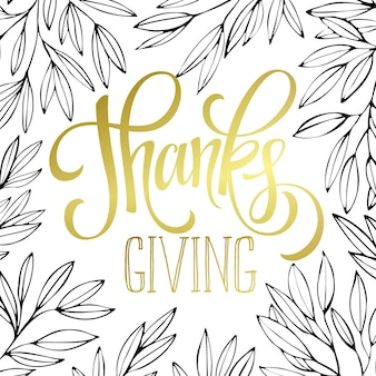 Thanksgiving - goud glinsterende belettering van ontwerp. vectorillustratie eps 10