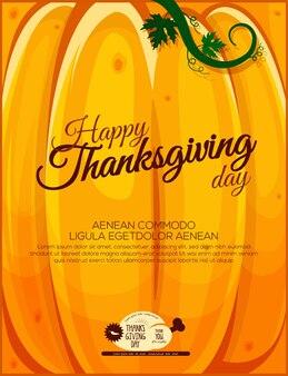 Thanksgiving groet poster pompoen achtergrond happy thanksgiving day
