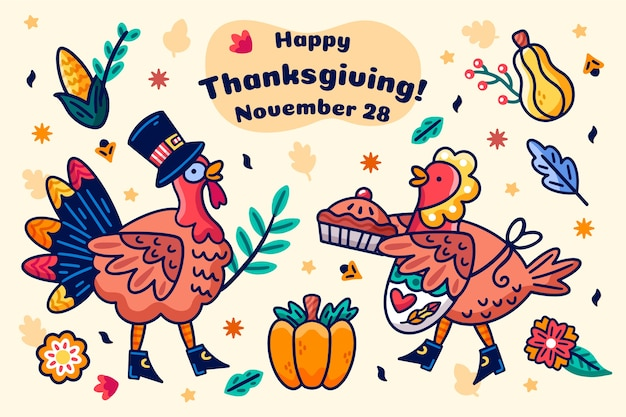 Thanksgiving hand getrokken achtergrond