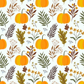 Thanksgiving herfst decoratief naadloos patroon met pompoenen en plantaardige ingrediënten