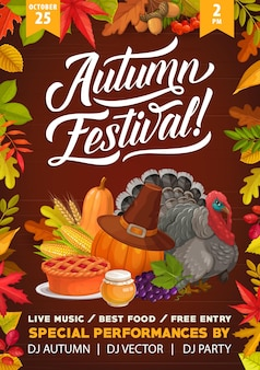 Thanksgiving herfstfestival flyer, cartoon kalkoen