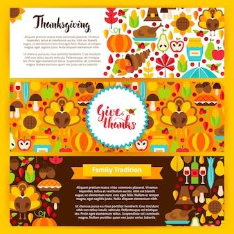 Thanksgiving horizontale banners. vectorillustratie. herfstvakantie website headers.