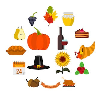 Thanksgiving iconen set, vlakke stijl