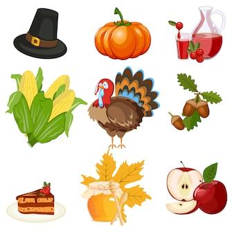 Thanksgiving iconen vector set