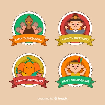 Thanksgiving-insigne met karakteravatars