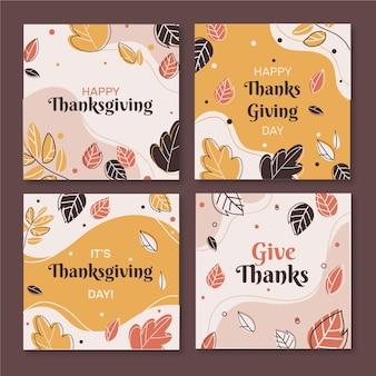 Thanksgiving instagram-berichten in plat ontwerp