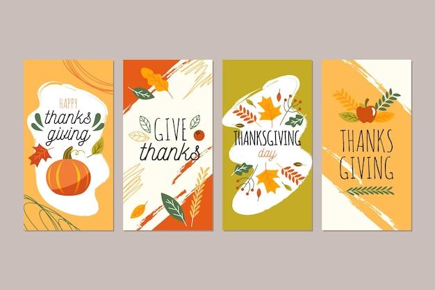 Thanksgiving instagram-verhalen in plat ontwerp
