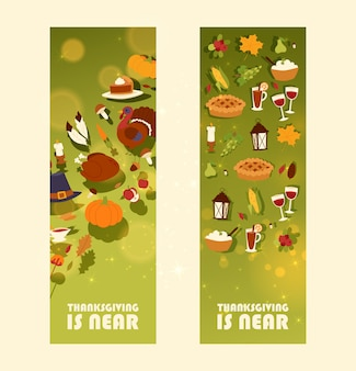 Thanksgiving is bijna een banner met traditionele geroosterde kalkoen en fruittaart, pompoen of maïs en champignonoogst