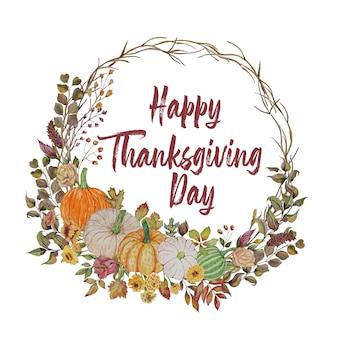 Thanksgiving-kaart met herfst krans en pompoenen