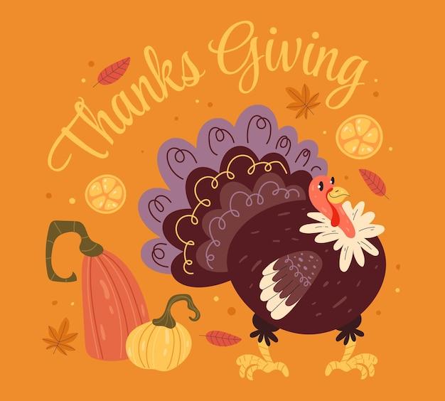 Thanksgiving kalkoen en pompende platte grafische ontwerpillustratie