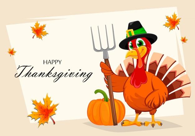 Thanksgiving kalkoen houden hooivork