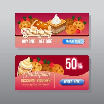 Thanksgiving korting webbanner met snacks