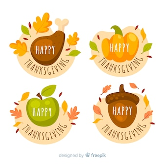 Thanksgiving labelcollectie in plat ontwerp