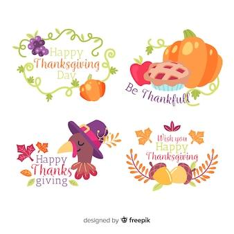 Thanksgiving labelcollectie in plat ontwerp
