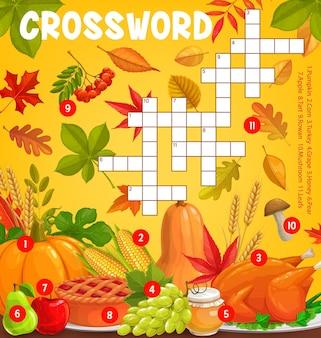 Thanksgiving-maaltijden en herfstoogst met vallende bladeren, vector kruiswoordpuzzelspelraster. zoek een woordquiz of een werkblad voor kinderraadsels met thanksgiving-pompoen, kalkoen, champignons en appeltaart
