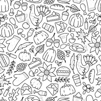 Thanksgiving naadloos patroon met doodles