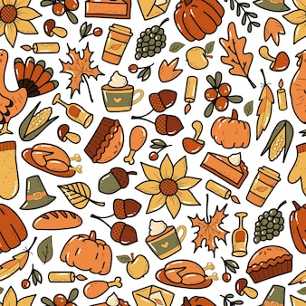 Thanksgiving naadloos patroon met gekleurde doodles