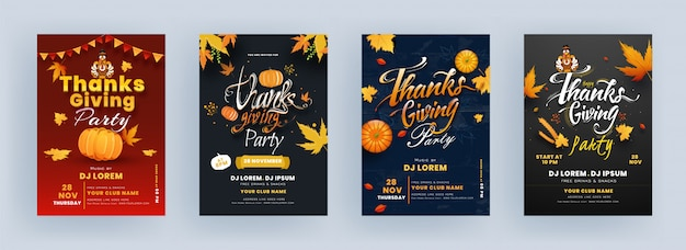 Thanksgiving party flyer design met turkije bird, pumpkin, maple leaves en event details