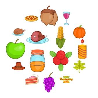 Thanksgiving pictogrammen instellen, cartoon stijl