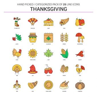 Thanksgiving platte lijn icon set