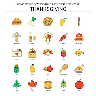 Thanksgiving platte lijn icon set