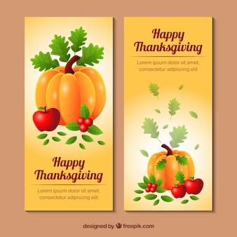 Thanksgiving pompoenen retro banners