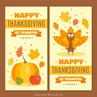 Thanksgiving prachtige banners met pompoen en mooie kalkoen