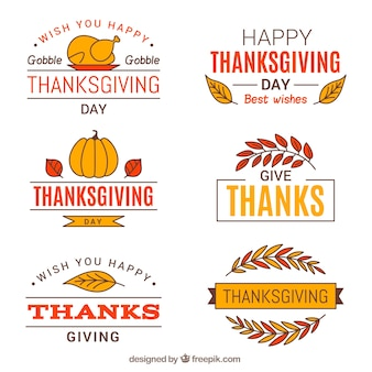 Thanksgiving retro stickers set