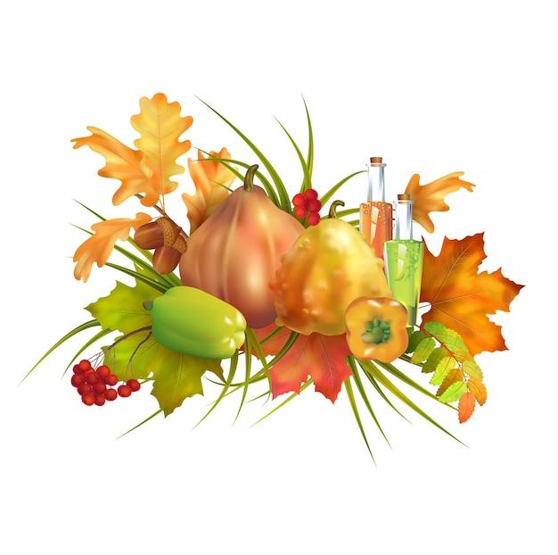 Thanksgiving-samenstelling met pompoenen en herfstbladeren
