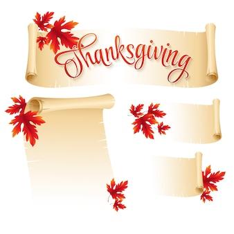 Thanksgiving scroll banner met herfstbladeren