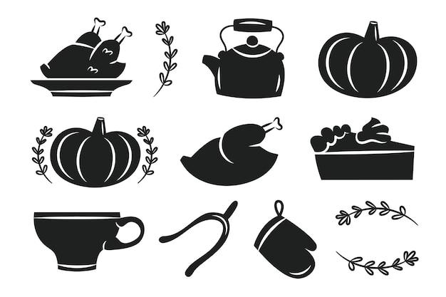 Thanksgiving stickers etiketten herfst november vakantie turkije pompoen beker waterkoker taart ovenhandschoen kruiden cut board bestand zwarte silhouetten