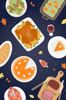 Thanksgiving traditionele diner achtergrond met geroosterde kalkoenham pompoentaart taarten cookies