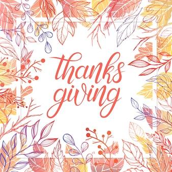 Thanksgiving typografie. handgetekende letters met gestileerde pompoenen, bladeren, eikels en confetti in herfstkleuren. thanksgiving-ontwerp perfect voor prints, flyers, banners, uitnodigingen, speciale aanbiedingen en meer.