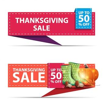 Thanksgiving-uitverkoop, tot 50% korting, twee horizontale kortingsbanners in de vorm van een lint